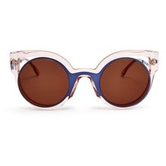 Fendi Bi-colour round-framed sunglasses found on Polyvore featuring accessories, eyewear, sunglasses, glasses, clear, oversized glasses, navy blue sunglasses, round frame sunglasses, fendi y fendi sunglasses