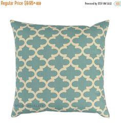 SALE Accent Pillow Cover, Village Blue Fulton Pillow, Spa Blue Pillow, Zippered Pillow, Quatrefoil Pillow Case, Moroccan Home Decor Fabric,