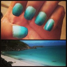 #ombre #blue #nails