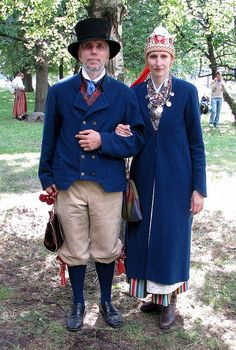 Europe | Portrait of a couple wearing traditional clothes, North Estonia.