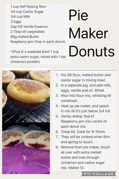 pie maker Blouses and Tops red wonder woman shirt Mini Pie Recipes, Donut Recipes, My Recipes, Sweet Recipes, Baking Recipes, Dessert Recipes, Desserts, Sunbeam Pie Maker, Breville Pie Maker