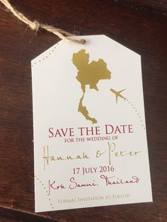Thailand Save the Date. Save the Date Luggage Tag.