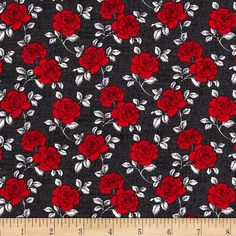And Sew On Roses Black/Red from @fabricdotcom  Designed by Fresh Designs for Henry Glass & Co., this cotton print is perfect for quilting, apparel and home decor accents.  Colors include white, black, grey and red.