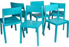 Turquoise Lacquer Chairs, Set of 6 -- contrasted with a rustic farmhouse table?