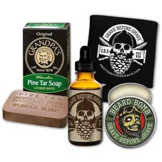 1  GRAVE BEFORE SHAVE BEARD BOMB1  GRAVE BEFORE SHAVE BEARD OIL 1 oz. dropper bottle1  Grandpa's Famous Pine Tar Wonder Soap (3.25 oz.)1  GRAVE BEFORE SHAVE CAN KOOZIE   (and as always some free stickers!)