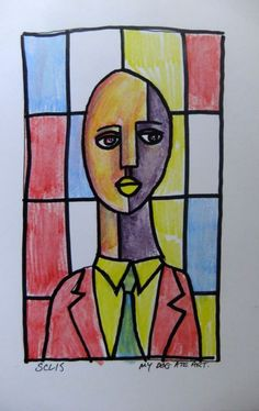 ARTFINDER: Yellow Lips by Steve Clement-Large - One of my Mondrian style backgrounds - with a stained glass feel. The colours of the grid are chosen at random. (I do like a bit of aleatoric technique) The ...