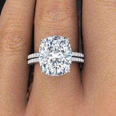 3.10 Ct Natural Rectangular Cushion Cut Pave Diamond Engagement Ring GIA Certifi #Pave