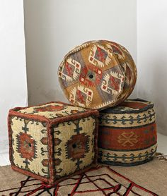 For extra seating and footrests in the living room - beautiful kelim poufs from Plumo. Southwestern Decorating, Southwest Decor, Southwest Style, Kilim Ottoman, Bohemian Room, Western Homes, Beautiful Living Rooms, Extra Seating, Rustic Furniture