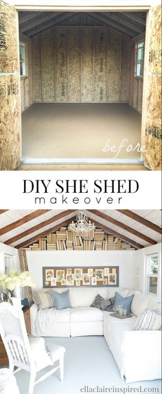50 Garden An Amazing Backyard Shed Makeover! From a Home Depot Tuff Shed (TR - 50 Garden An Amazing Backyard Shed Makeover! From a Home Depot Tuff Shed (TR to a bea - Backyard Office, Backyard Sheds, Garden Sheds, Backyard Cottage, Garden Office, Layout Design, Shed Conversion Ideas, Home Office, Cottage Office