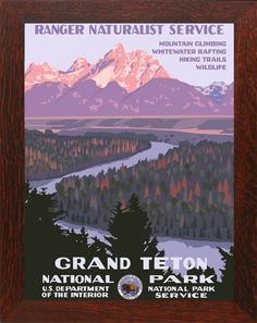 Grand Teton National Park, Wyoming, USA // WPA-style poster by Steve Thomas [Illustration] Poster Vintage, Vintage Travel Posters, Vintage Ski, Vintage National Park Posters, Steve Thomas, Voyage Usa, Wpa Posters, Music Posters, Concert Posters