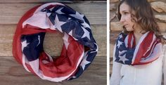 Totally fashionable and edgy USA American Flag Scarf. The Vintage feel makes it a must have for every woman. 100% Polyster80 inch long and 40 inch widesoft handfeellightweightSuper quick shippingThe extra long length lets you style it in a variety of ways.Styling Tip: Paired it with a solid piko top and frayed denim shorts.Thank you for supporting small businesses. We truly appreciate it.Email us at info@savvylooks.com if you have any questions. We will definitely get back to you at the…