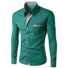 Stylish Turn-Down Collar Stripe Spliced Long Sleeve Shirt For Men