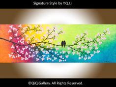 Original Large Acrylic landscape painting Impasto by QiQiGallery