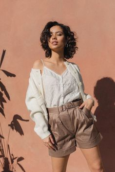 Dakota Shorts Caribou – Lily Welt Pocket, Short Dresses, March, Lily, Shorts, Elegant, Stylish, How To Wear, Cotton