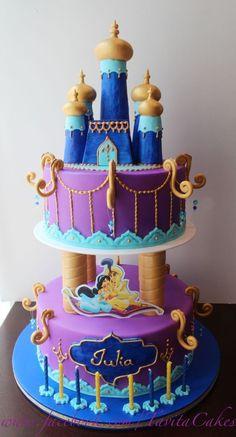 Aladdin Jasmine theme cake party....hmmm how can We adapt the Wilton castle set to make jasmines castle?