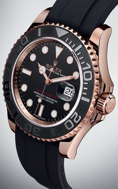 The Rolex Yacht-Master 40 in 18 ct Everose gold with a bidirectional rotatable bezel, matt black Cerachrom bezel insert with polished raised numerals, black dial and innovative Oysterflex bracelet.