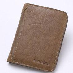 Genuine Guarantee Leather Wallet Men Wallets Vintage Organizer Purse Billfold Zipper Coin Pocket