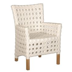 Crafted Home Decorative Sacramento White Modern Indoor/Outdoor Chair (Sacramento), Patio Furniture (Rattan)