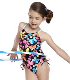 Girls One Piece Swimsuit Cross Back Butterfly Print Beach Wear