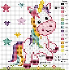 Unicórnio rosa ponto cruz, unicorn cross stitch free pattern