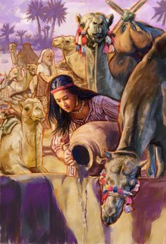"""Rebekah pouring water for Eliezer's camels to drink. Genesis 24:19-21 """"When she finished giving him a drink, she said: """"I will also draw water for your camels until they are done drinking."""" So she quickly emptied her jar into the drinking trough and ran again and again to the well to draw water, and she kept drawing water for all his camels. The whole time the man silently stared at her in amazement, wondering whether Jehovah had made his trip successful or not."""""""