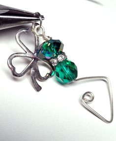 Irish St Patty's Day Pendant with Lucky Four Leaf by fatdogbeads, $10.00