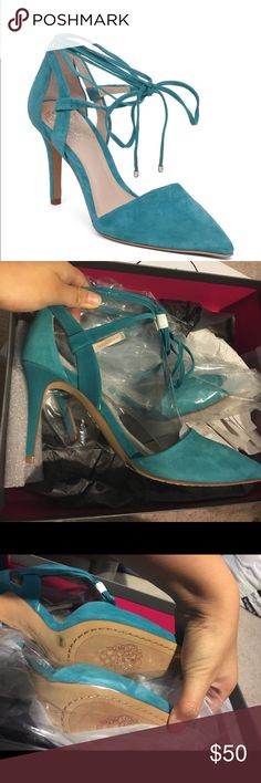 BNWT vince camuto bellamy tie up suede heels BNWT in original box vince camuto bellamy greece green (more of a teal color) suede tie up heels in size 6. Perfect for spring/summer! The tie up part is gorgeous. The pointed toe is very trendy. Vince Camuto Shoes Heels