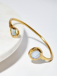 Open Road Moonstone & Opal Cuff | American made brass cuff featuring beautiful moonstone and opal accents. Eaily dressed up or down.