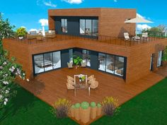 But in L Basic idea for an interior patio house with a part on the floor and roof terrace Modern House Floor Plans, Dream House Plans, My Dream Home, U Shaped Houses, Florida House Plans, House Outside Design, Casas Containers, Home Building Design, Tiny House Cabin