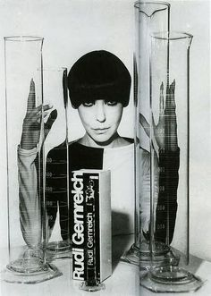 Peggy Moffitt in a dress by Rudi Gernreich. S)