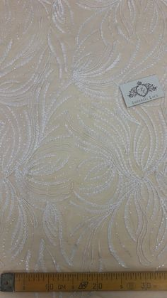 Ivory Lace fabric by the yard embroidery with beads on nude $105