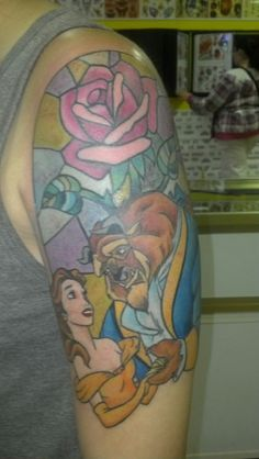 If I get the crysanthemum, maybe I'll add to it by incorporaring a stained-glass-esque rise to rep beauty and the beast? Baby Tattoos, New Tattoos, Tatoos, Real Tattoo, I Tattoo, Beauty And The Beast Tattoo, Stained Glass Rose, Belle And Beast, Just Ink