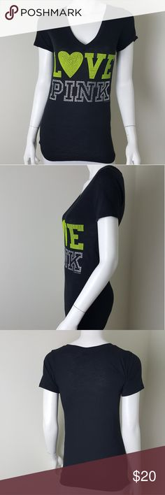 """Victoria's Secret Love Pink Black Shirt XS Black shirt with green beaded """"Love Pink"""" preloved, no flaws. Women's size XS.  Approximate Measurements Laid Flat- Pit to pit- 14"""" Length- 27""""  60% Cotton 40% Polyester  #1608 PINK Victoria's Secret Tops Tees - Short Sleeve"""