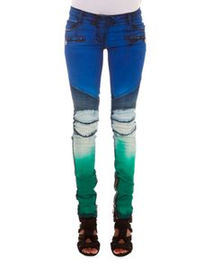 Slim-Fit Tie Dye Moto Jeans, Blue/White/Green by Balmain at Neiman Marcus Last Call.