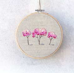 Embroidery rose trees