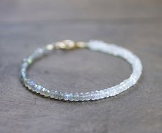 Ombre Labradorite & Moonstone Delicate Bracelet, Sterling Silver or Gold Filled, Shaded Grey White N