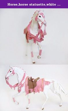 Horse,horse statuette,white horse,horse figurine,pink horse,horse sculpture,horse with harness. The figure of a white horse with a pink harness is made from lightweight and pleasant to touch material-velvet plastic,the same figure has a skeleton that gives it additional strength. On request, we can make the figure of a horse of any complexity,size, and color.If you have any questions-please ask.Height 10 inches.
