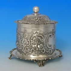 antique silver biscuit box