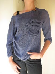 Light Sweater BlueJeans colour Simple Breathed by Strojownia, $99.00