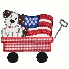 Puppy Wagon Flag Applique - 2 Sizes! | 4th of July Applique Machine Embroidery Designs | Machine Embroidery Designs | SWAKembroidery.com