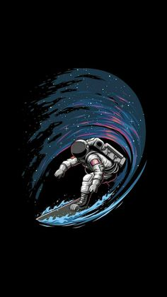 Astronaut Surfing In Space IPhone Wallpaper - IPhone Wallpapers