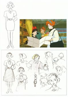 """A scan of artwork from """"The Art of Kiki's Delivery Service"""" art book. Animation Storyboard, Illustration Story, Studio Ghibli Art, Hayao Miyazaki, Japanese Artists, Disney Art, Cute Drawings, Book Art, Character Design"""