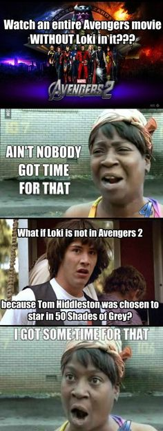 No Loki in Avengers 2?  Tom Hiddleston in 50 Shades of Grey? Too bad it's not true.