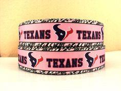 1 yard Houston Texans - Pink - 1 inch - Printed Grosgrain Ribbon