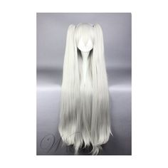 Long Straight White Cosplay Wig with Ponytails (£49) ❤ liked on Polyvore featuring beauty products, haircare and hair styling tools