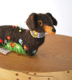 Needle Felted Large Dachshund Pin Cushion by MissBumbles