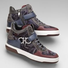 Men s Ferragamo calfskin, suede and printed velvet sneaker. www.Ferragamo.com  Latest 6455a71823