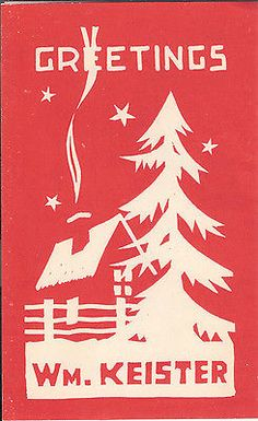 Vintage Christmas Card Art Deco Cottage with Pine Tree | eBay
