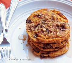 Pumpkin Chocolate Chip Pancakes with Toasted Walnuts