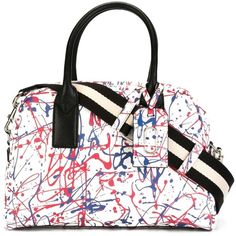 Marc Jacobs Splatter Paint Print Bauletto Tote (2,735 SAR) ❤ liked on Polyvore featuring bags, handbags, tote bags, white, white leather purse, white leather tote, leather totes, zip top leather tote and leather handbags